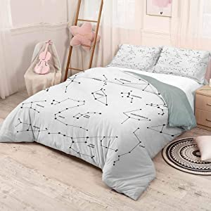 HELLOLEON Constellation Extra Large Quilt Cover Astronomic Theme Group Stars Names Classical Scientific Composition Can be Used as a Quilt Cover-Lightweight (Twin) Charcoal Grey White