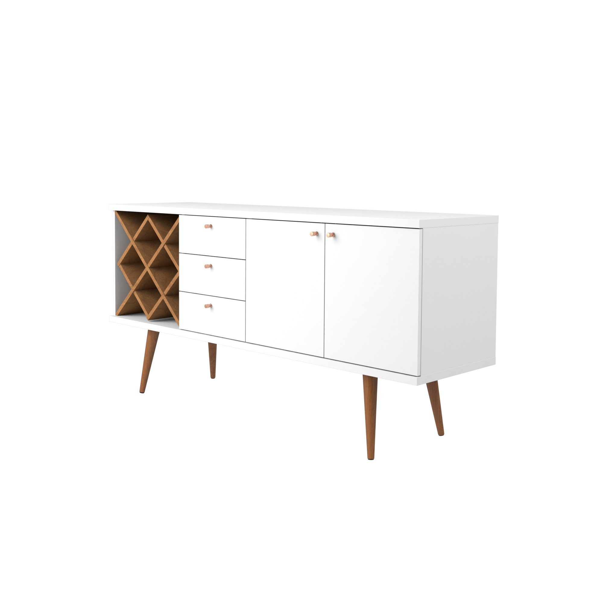 Manhattan Comfort Utopia Collection Mid Century Modern Sideboard Buffet Stand With 4 Bottle Wine Rack, Cabinet and 3 Drawers, Splayed Legs, White by Manhattan Comfort (Image #4)