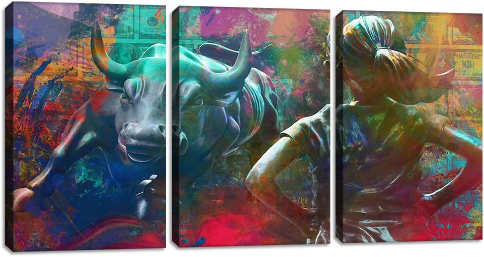 Motivational Wall Art Canvas Print Wall Street Charging Bull Fearless Girl Positive Office Decor 3 Panels Inspirational Framed Prints Entrepreneur Quotes Decoration Ready to Hang - 48