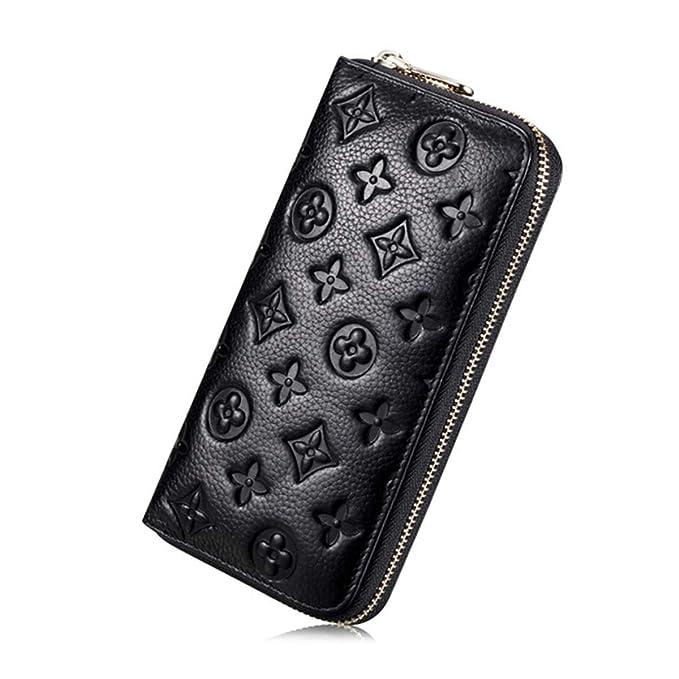 711522f37a39 Auner Women RFID Blocking Wallet Leather Zip Around Clutch Large Travel  Purse (Black)