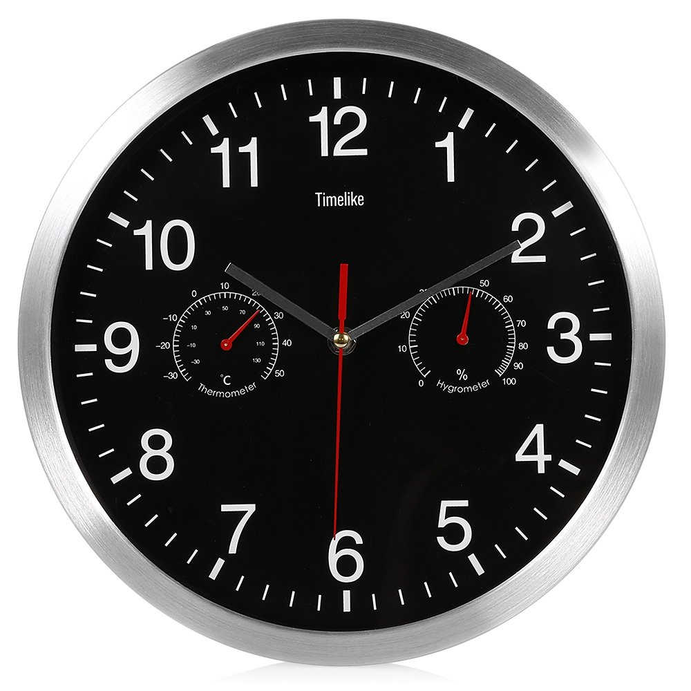 32cm Silent Quartz Metal Wall Clock, Clock, Thermometer, Hygrometer 3-in-1, Easy to Install, Suitable for Homes, Hotels, Offices, Classrooms or Fitness Centers