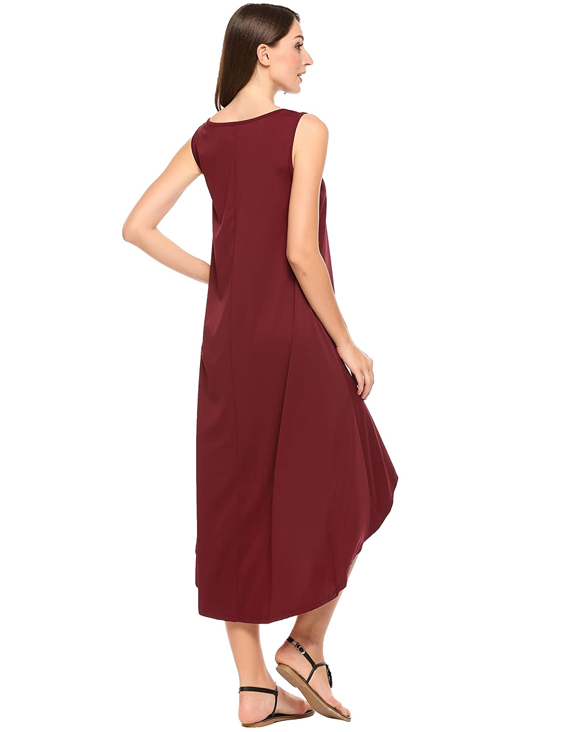 Meaneor Women Casual Sleeveless Solid V Neck Pullover Low High Hem Maxi Dress