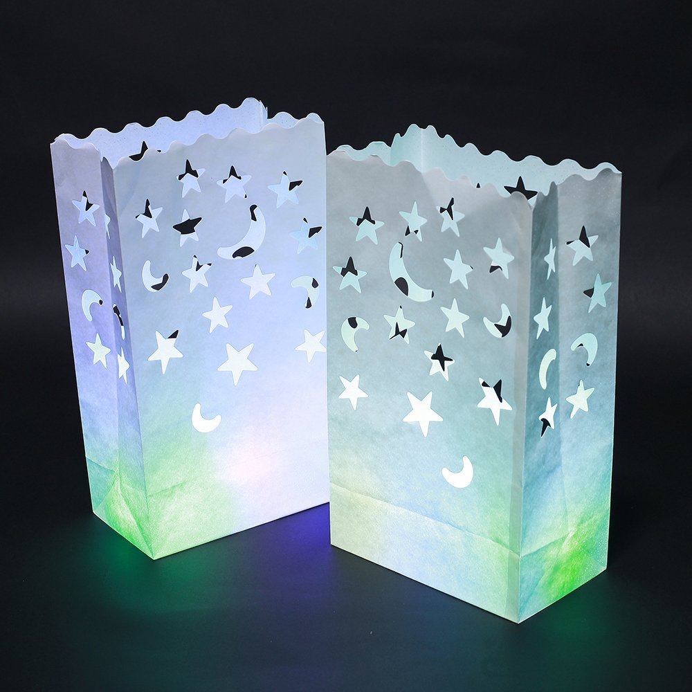 Candle Paper Bag,Luminary TeaLight Hollowed , Make for Wedding Birthday Courtship New Year or Other Party more perfect,White,20pcs (Moon-Star)