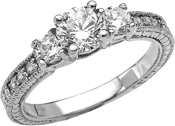 14K .40 Ctw Diamond Engagement Ring White Gold.Whitehouse Patented 3.3 Gr Sz6.5