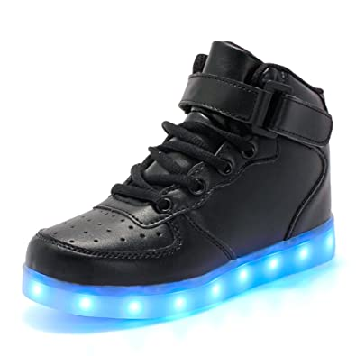 Coolloog Kids High Top 11 Colors LED Shoes USB Charging Flashing Sneakers Light up Shoes Birthday