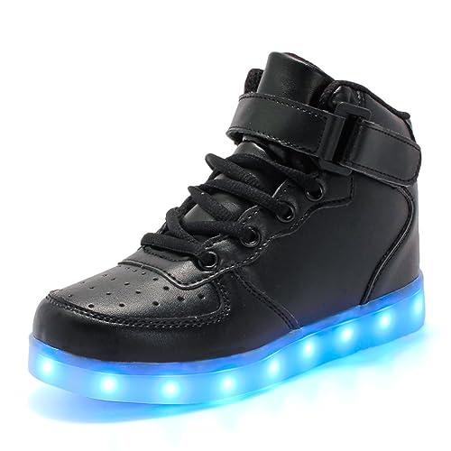 DoGeek Unisex Hombres Mujeres 7 Colores Light Up LED Zapatos Blanco Negro (Mejor Pedir Una Talla Más) (31EU, Rojo)