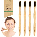Bamboo Toothbrush Soft Charcoal Infused Bristles BPA Free Organic and Biodegradable Toothbrushes Pack of 4 by Artmeer