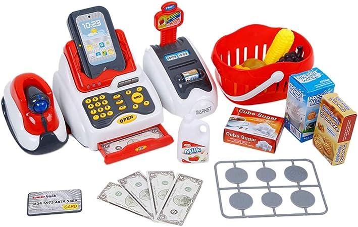 Toyvian Cajero de Juguete Caja Registradora Playset Juego de Simulación Cajero con Escáner Dinero de Juego Y Juguete de Supermercado para Niños Niños Niñas: Amazon.es: Hogar