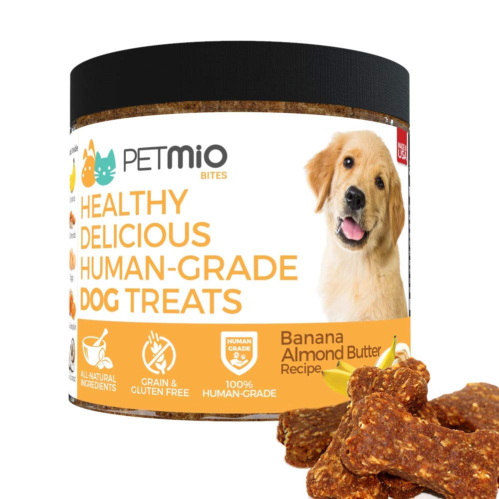 PetMio Bites - Human Grade Dog Treats, Banana Almond Butter Pumpkin Recipe, Certified Gluten Free, Certified Non-GMO, Grain Free, Healthy, All Natural, and Made in the USA