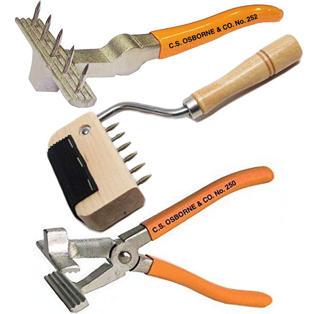 C.S. Osborne #252 Webbing Stretcher, 250 Pliers, No. 253 Goose-Neck Webbing Stretcher Set, Heavy Duty Canvas, Leather & Sagless Webbing Stretching Upholstery Tools