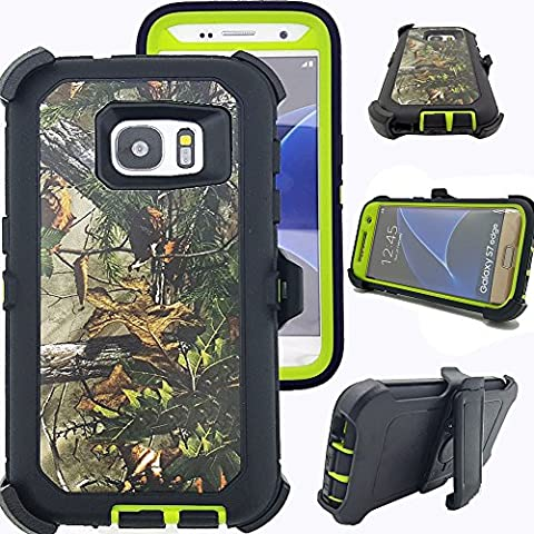 Defender S7 Edge Case, Kecko Hunting Camo High Impact Shockproof Drop Scratch Resistant Full Body Protective Rugged Hybrid Case Shock Absorbent Bumper Cover for Galaxy S7 Edge - Green - Camo Cell Phone Cover