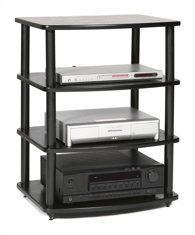 PLATEAU SE-A4 BB Wood and Metal Audio Stand, Black Oak Finish