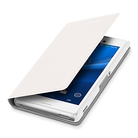 kwmobile Funda para Sony Xperia M4 Aqua - Carcasa para móvil de [Cuero sintético] - Case [Plegable] en [Blanco]