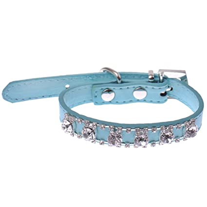 Sparkly Crystal Diamantes Cat Collar Sky Blue Safety Collar Elastic Bling Bell