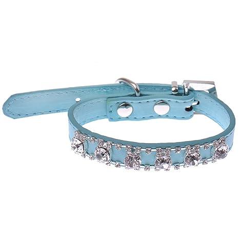 Sobotoo Collar para Mascotas Filas Ajustables y Diamantes de Imitación de Cristal, para Perros Pequeños