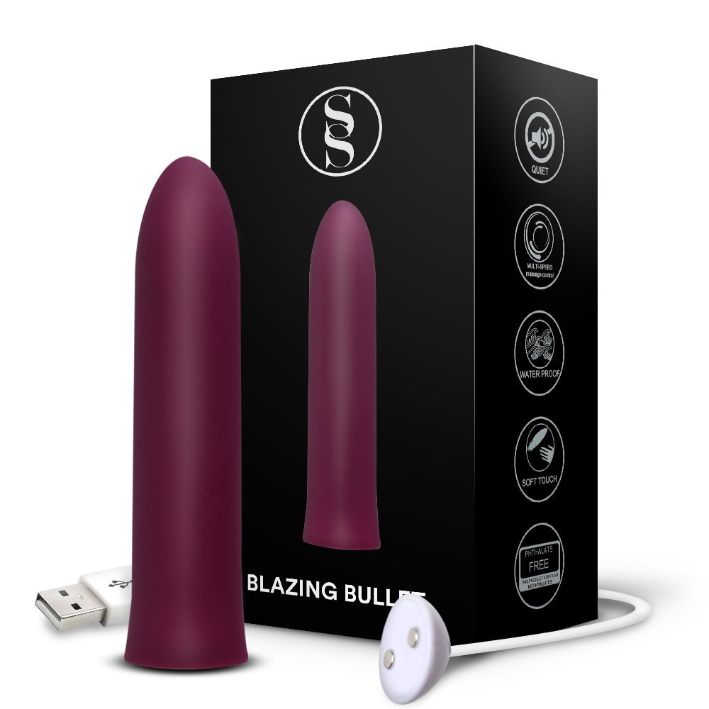 Bullet Vibrator | Cordless USB Rechargeable | Blazing Vibrating Bullet Adult Toy | 3 Speeds + 7 Pulsating Patterns, Deep Purple