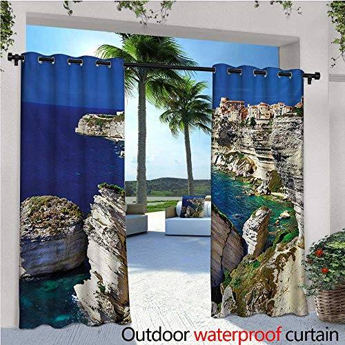- homehot Cityscape Balcony Curtains Binifacio Town Rocks Corsica Coastline Cliff Clear Ocean Summer Seascape Panorama Outdoor Patio Curtains Waterproof with Grommets W108 x L84 Nacy Beige