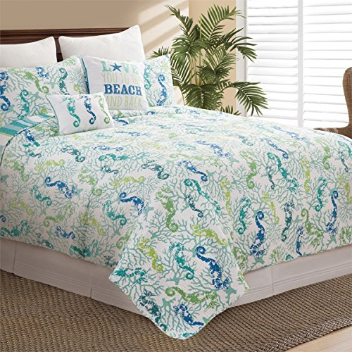 Home Covers Mini - C&F Home Aquarius Mini Set Queen or Full Size Reversible Quilt 92 X 90 Inch and 2 Standard Shams