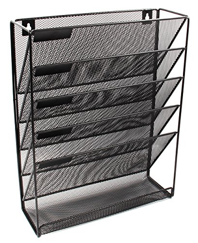 (EasyPAG Mesh Wall Mounted File Holder Organizer Literature Rack 6 Compartments Black)