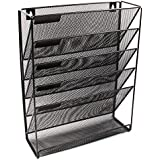 EasyPAG Mesh Wall Mounted File Holder Organizer Literature Rack 6 Compartments Black