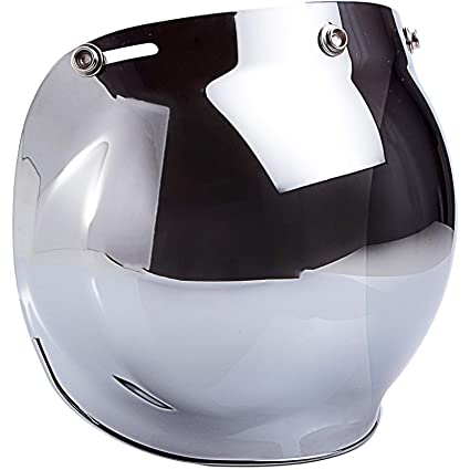 6e9479e2 Amazon.com: Smoke Tint Bubble Shield for 3-Snap Motorcycle Helmet (Chrome  Mirror): Automotive