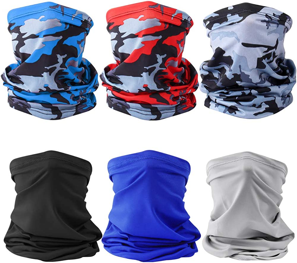 Mukum 6Pcs Sun UV Protection Face Mask Cooling Neck Gaiter Windproof Scarf Dust Breathable Bandana for Sport&Outdoor