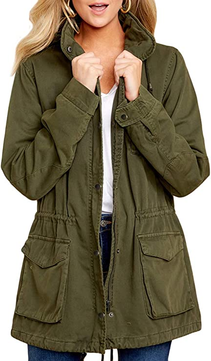 Womens Military Anorak Jacket Zip Up Snap Button Parka Safari Utility Coat Outwear with Pockets