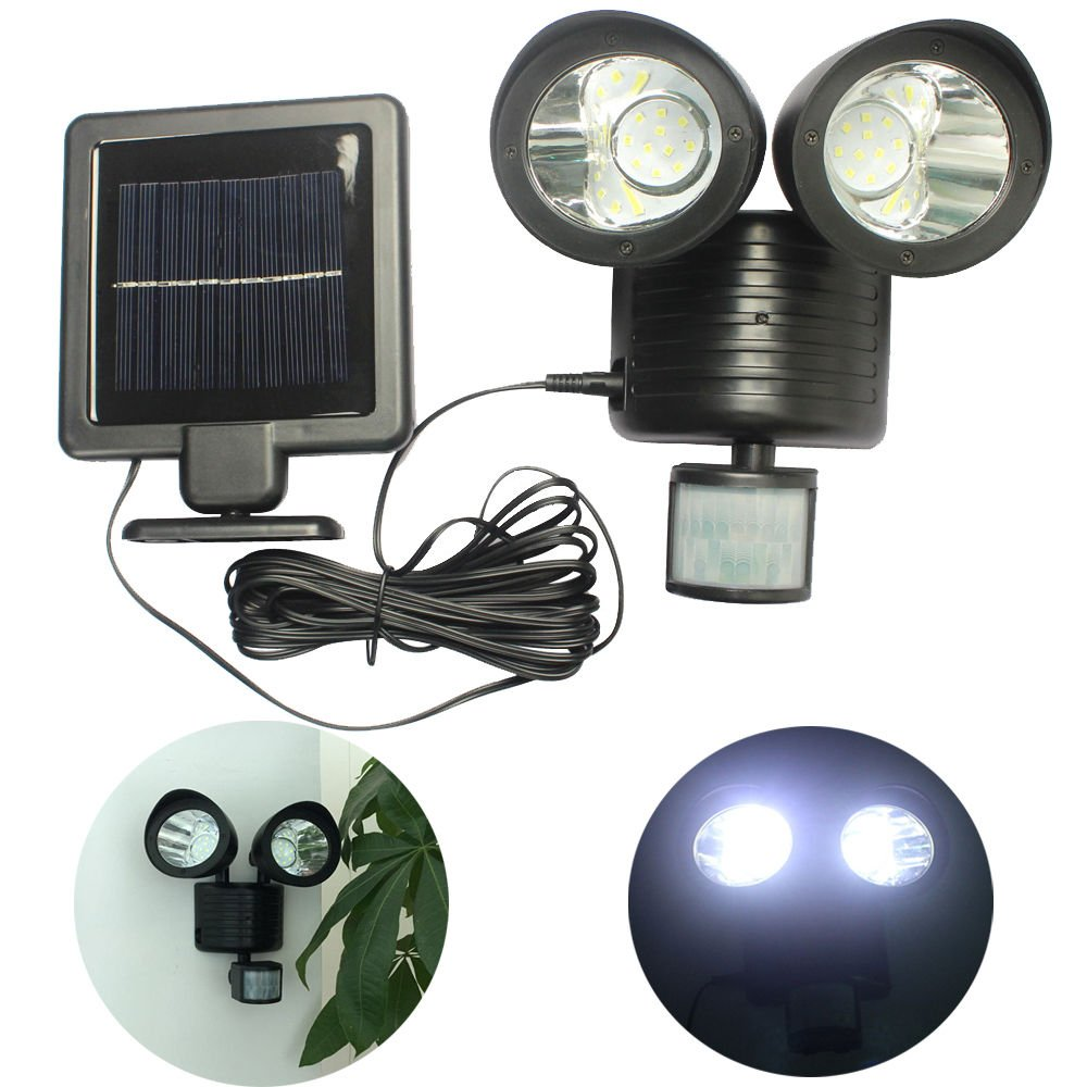 Bright Solar Power Motion Sensor light 22 LED Dual Head Security Floodlight Outdoor Light for Patio,Garden