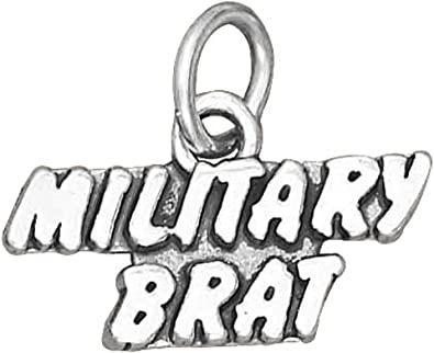 Sterling Silver Girls .8mm Box Chain ARMY BRAT Military Armed Forces Pendant Necklace