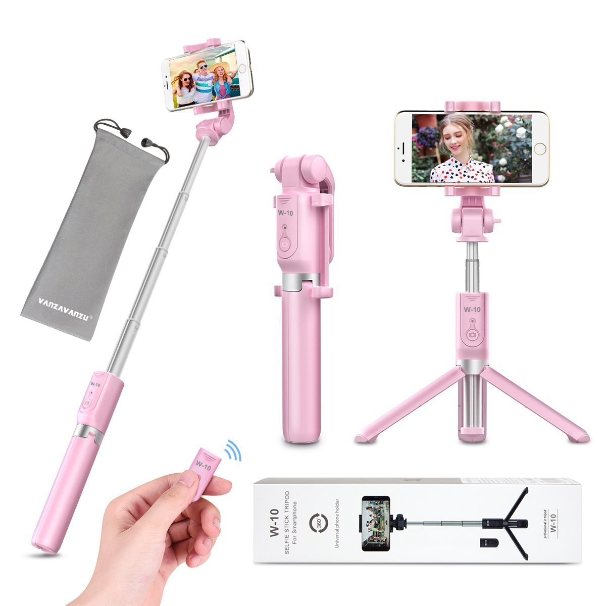 Selfie Stick Tripod with Remote Bluetooth - VANZAVANZU 2018 New Best Selfie Stick Monopod Tripod for iPhone X 6s 7 8 Plus Samsung s7 Edge, Podcast, Live Broadcasting, Facetime (Pink)