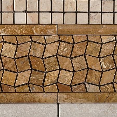 Sample-Set 2 pcs Crema Marfil Marble 3 X 6 Tumbled Brick Field Tile