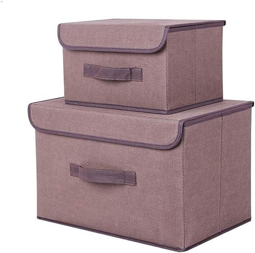 Voker Caja de Almacenaje de Tela, Plegable Set de 2 Cajas de ...