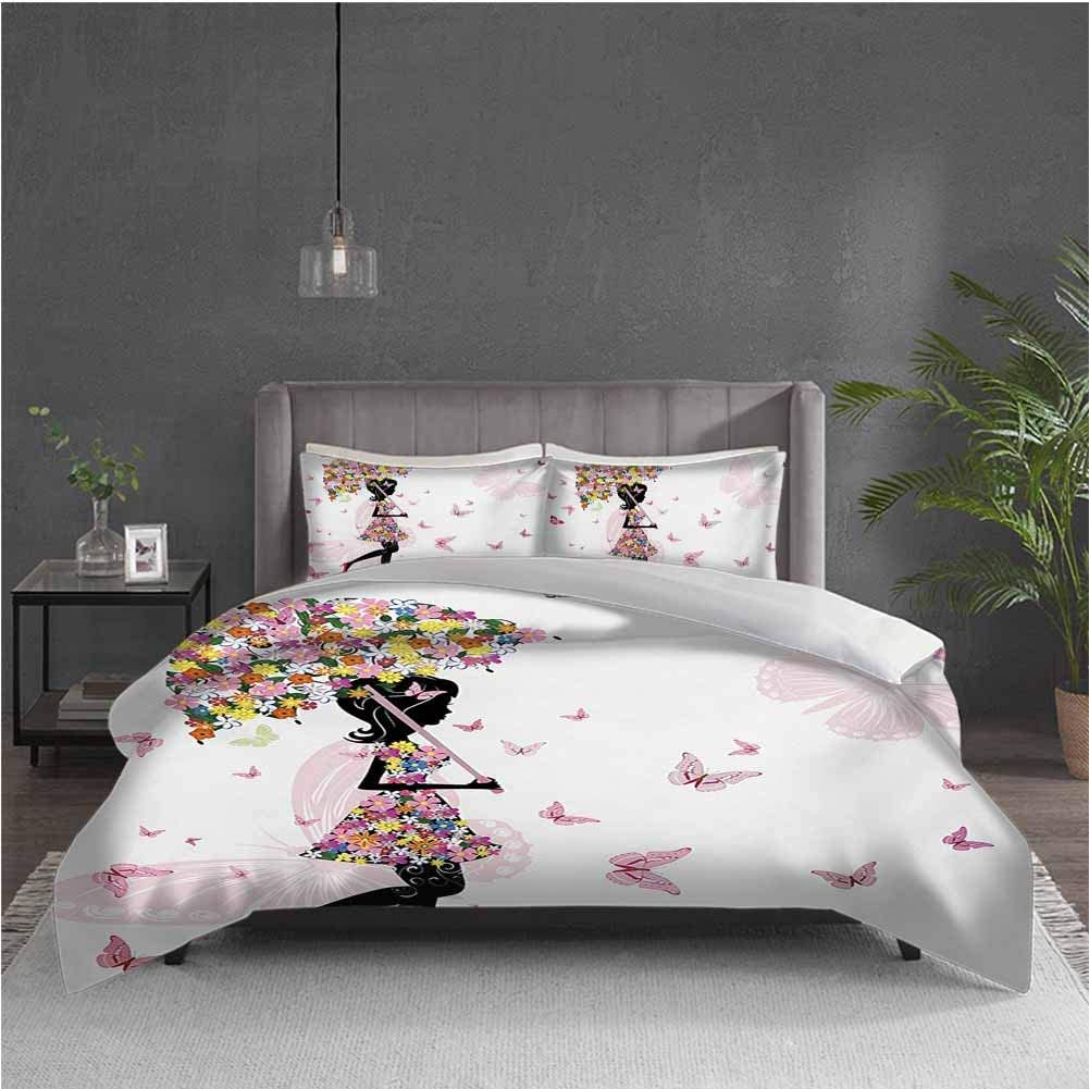 GUUVOR Girls 3-Pack (1 Duvet Cover and 2 Pillowcases) Bedding Girl with Floral Umbrella and Dress Walking with Butterflies Inspirational Art Print Polyester (Full) Pink Black