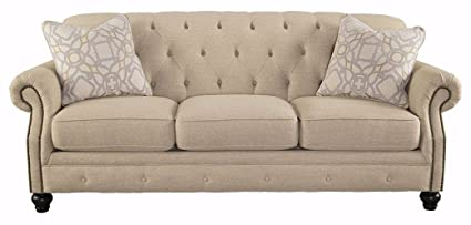Ashley Furniture Signature Design   Kieran Traditional Upholstered Sofa    Natural Tan