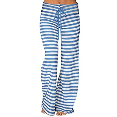 QBQ Frauen Stripe Prints Drawstring Wide Leg Hose,Gut für Urlaub Yoga  Party  Amazon.de  Bekleidung acaf5c3dfd