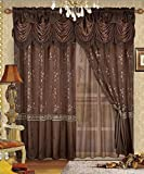Fancy Collection Embroidery Curtain Set 1 Panel Chocolate Brown with Gold Drapes with Backing & Valance Monica New For Sale