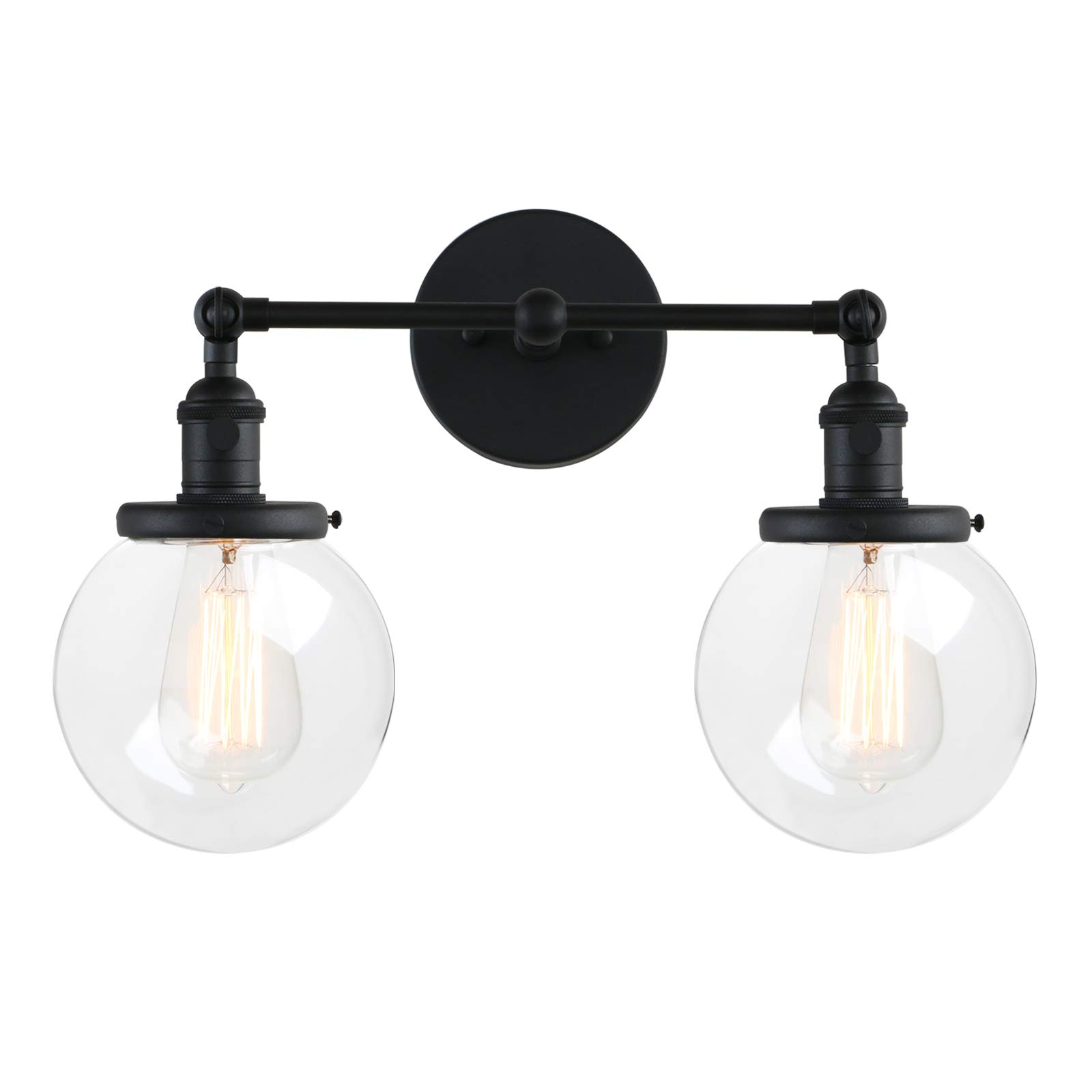 Pathson Vintage 2 Light Wall Sconce with Globe Clear Glass Shade, Black Industrial Vanity Light Fixtures for Bathroom by Pathson