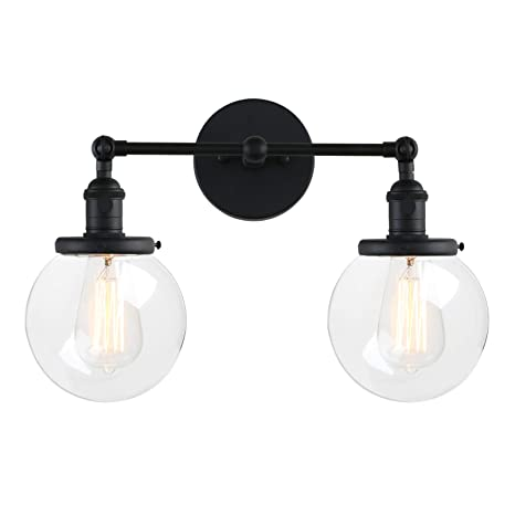 Outstanding Pathson Vintage 2 Light Wall Sconce With Globe Clear Glass Shade Black Industrial Vanity Light Fixtures For Bathroom Home Interior And Landscaping Fragforummapetitesourisinfo