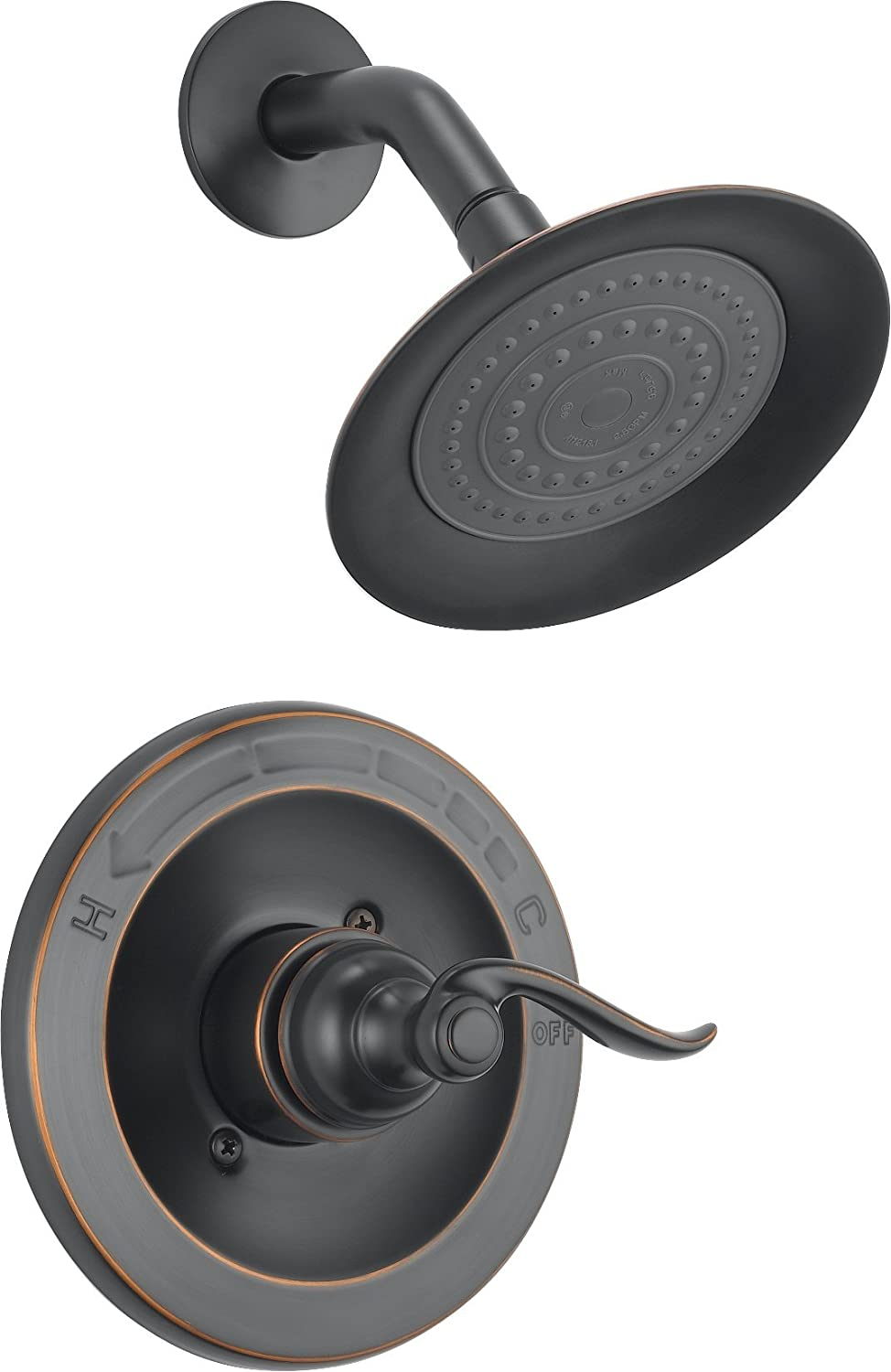 Delta Faucet Windemere Single-Function Shower Trim Kit with Single-Spray Shower Head, Oil Rubbed Bronze BT14296-OB (Valve Not Included)