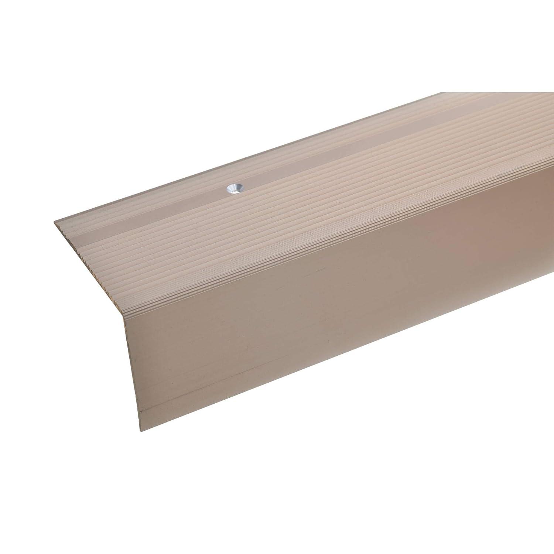 silber * Rutschhemmend * Robust * Leichte Montage acerto 38022 Aluminium Treppenwinkel-Profil Treppenstufen-Profil aus Alu 55x69mm Gelochtes Stufenkanten-Profil 100cm Treppenkanten-Profil