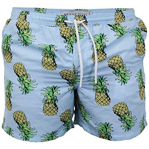 Short De Bain Hommes Brave Soul Floral Ananas Hawaii Impression De La Plage Été Neuf