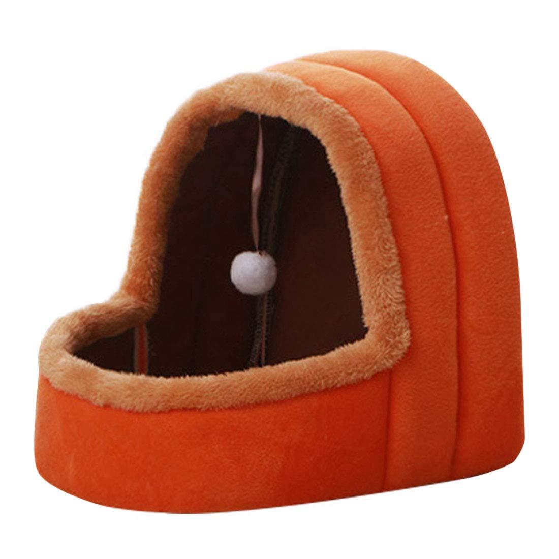 FREAHAP R Niche Panier Chat Chien Confortable Maison pour Animal de Compagnie Amovible Orange S