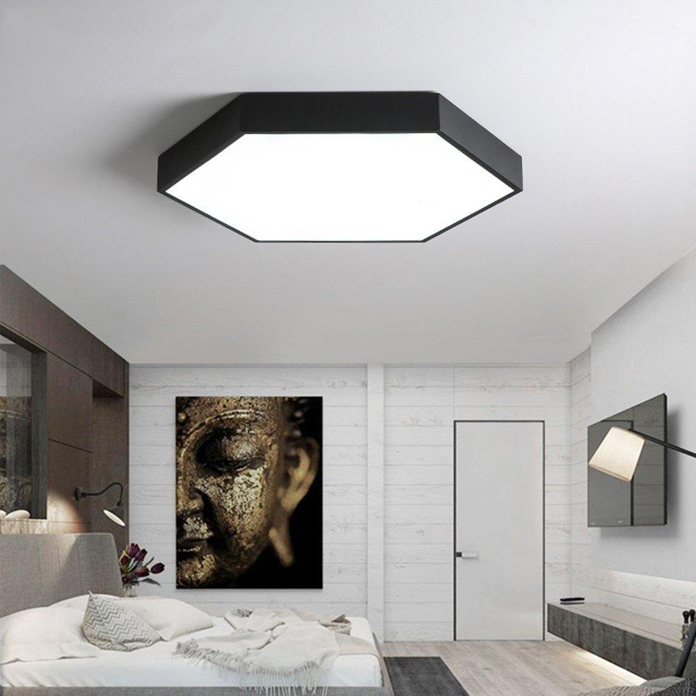 U-Enjoy Kronleuchter Einfache geometrische Schlafzimmer Lampe Schwarz   Weiß Lamparas Techo LED Deckenleuchte Beleuchtung Modernes Restaurant Haus Küche Kostenloser Versand [Warmweiß & Schwarz D40CM]