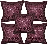 Room Decorativ Handmade Embroidery & Mirror Work Cushion Cover 16 X 16 Inches Set Of 5 Pcs