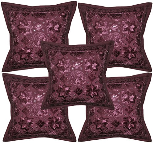 Room Decorativ Handmade Embroidery  Mirror Work Cushion Cover 16 X 16 Inches Set Of 5 Pcs