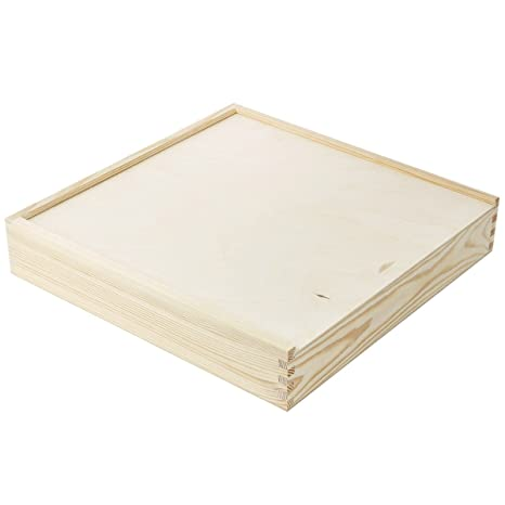 Madera Cajas sammelbox 33 x 33 cm caja Tapa deslizante Madera Caja de madera
