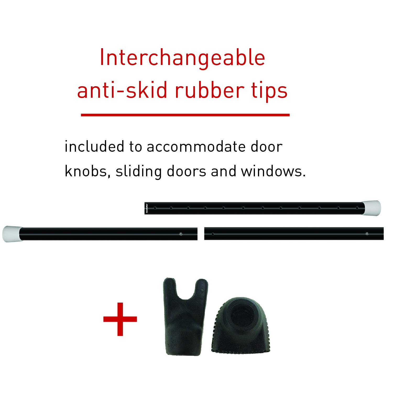 Securityman 2-in-1 Adjustable Door Knob Jammer & Sliding Patio Door Security Bar - Constructed of...