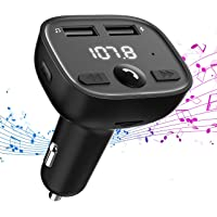 VicTsing Bluetooth FM Transmitter for Car, Power Off Wireless in-Car Transmitter, Universal Radio Adapter Car Kit with Hands-Free, Music Player Support TF/SD Card, USB Disk, Aux Input
