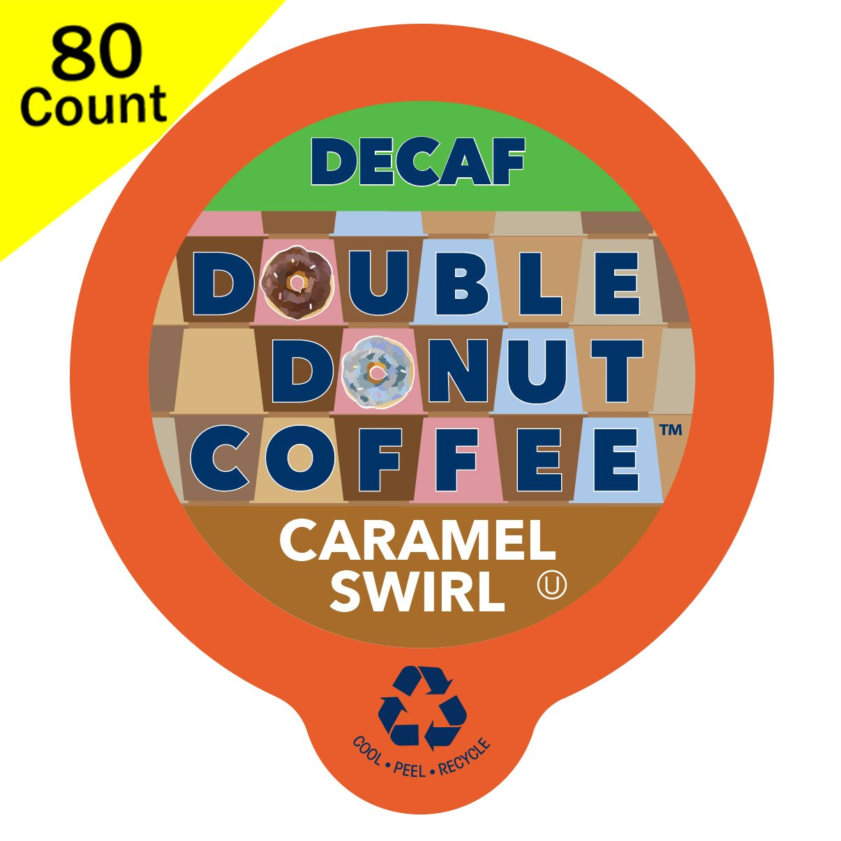 Double Donut Decaf Flavored Coffee, in Recyclable Single Serve Cups for Keurig K-Cup Brewers, 80 Count (Decaf Caramel Swirl) by Double Donut Coffee