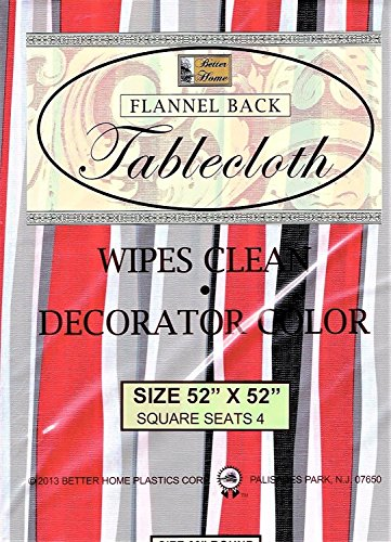 Better Home Vinyl Tablecloth Red Gray Stripes Decorator Design Flannel Backed (52